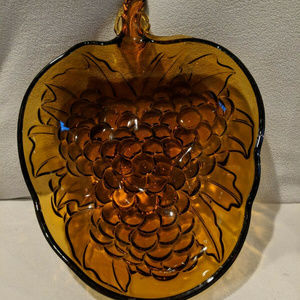INDIANA GLASS Large Vintage Amber Grape Dish Bowl